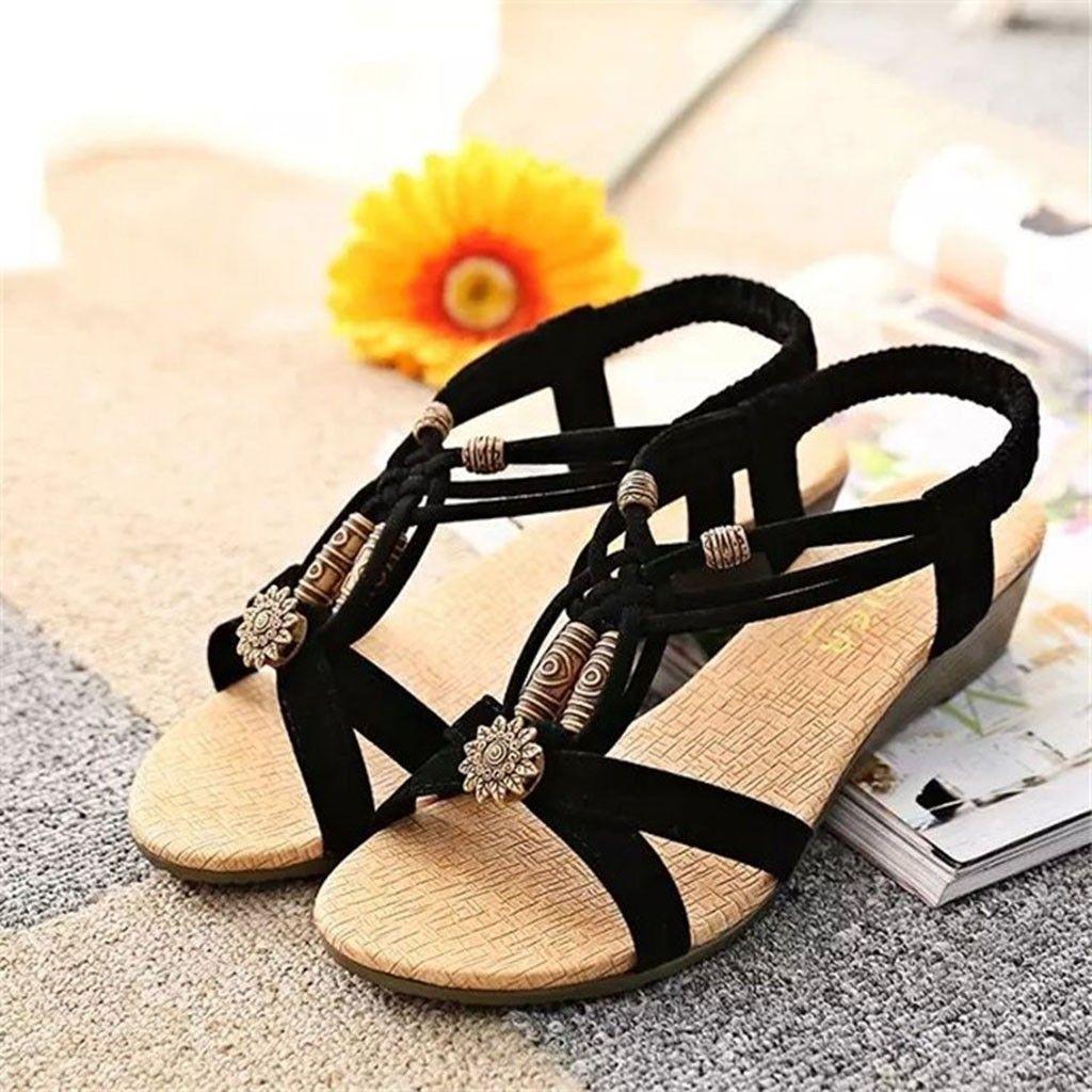 Vintage Sandals Women Summer Plus Size Elastic Band Bohemia Wedges Beach Shoes Footwear New Girl Open Toe Sweet Sandals