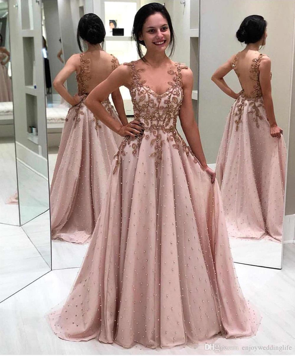 2019 Light Pink Lace Long Prom Dresses Tulle Lace Applique Beaded Seen Through Back Floor Length Formal Party Evening Gowns Bc2096 Modest Prom Dress