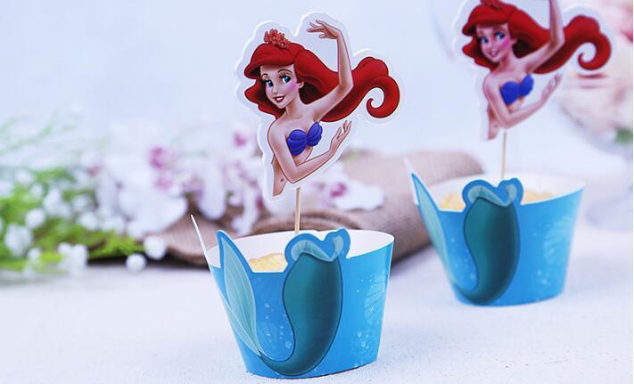 Mermaid Candy Box Popcorn Box acquazzone di bambino favorisce accessori per la festa di compleanno Decorazione principessa dei capretti del partito