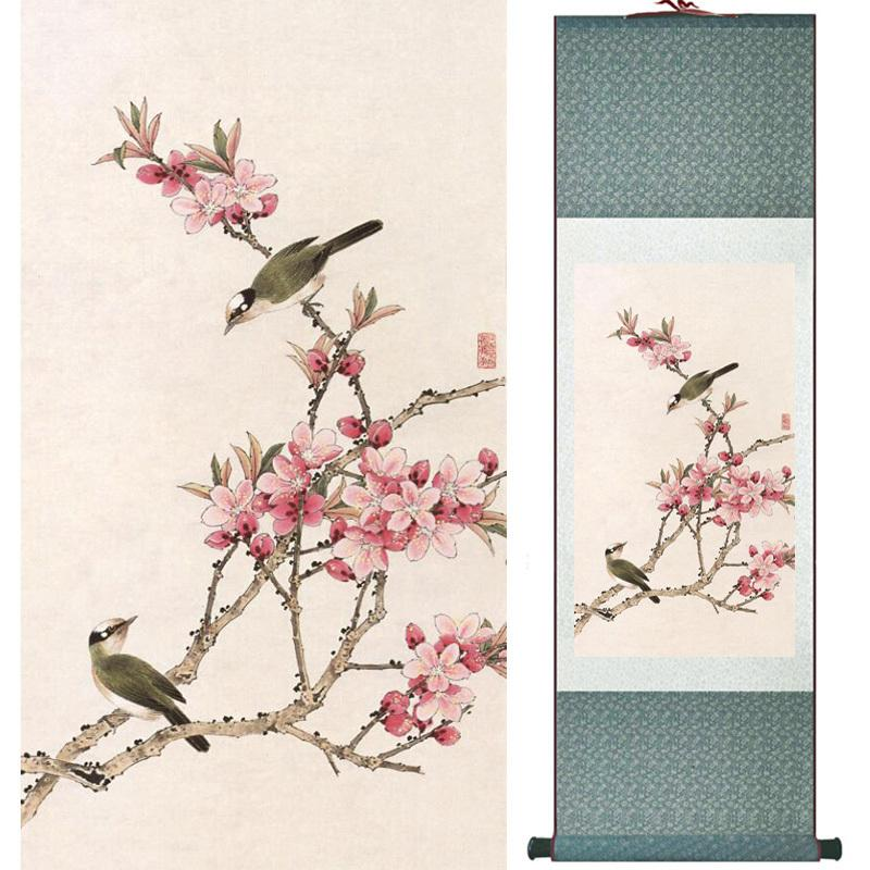 Home Office Decoration Chinese Scroll Painting Birds Painting Chinese Wash Printed Painting 052513