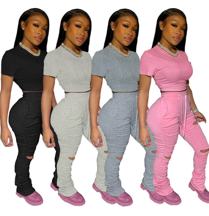 Плюс размер 2X летние женщины бренд сплошной цвет 2 шт. комплект дизайнерские наряды с коротким рукавом футболка растениеводство топ + рваные отверстия брюки модный костюм 2876