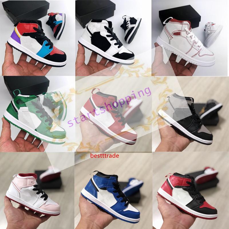 2019 1 1s Baloncesto Niños Zapatos Presl Firmado infantil Jóvenes de Chicago recién nacido del bebé del niño de Entrenadores Pequeños Niños Niñas zapatilla de deporte