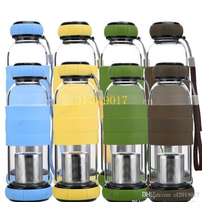 20 Adet Çift katlı Çay Demlik yüksek sıcaklığa dayanıklı silikon cam su şişesi cam Yaratıcı araba hediyeler çay süzgeci 420 ml / 550 ml