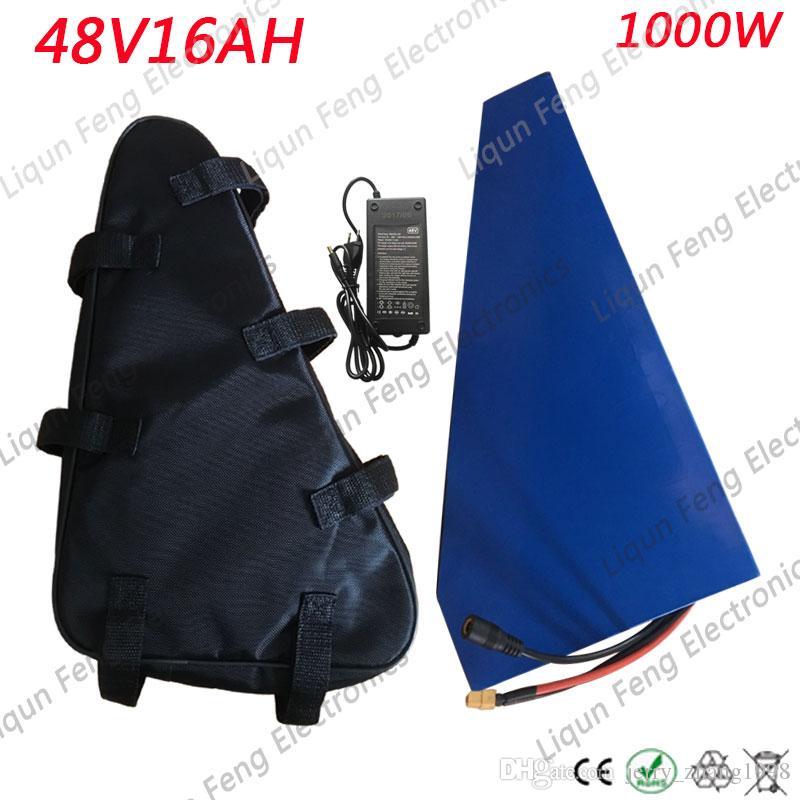 Batterie de vélo électrique 48V 15AH avec bloc de batterie au lithium 48V 15AH 16AH Triangle Batterie de vélo électrique avec chargeur de 30A BMS + 54.6V 2A