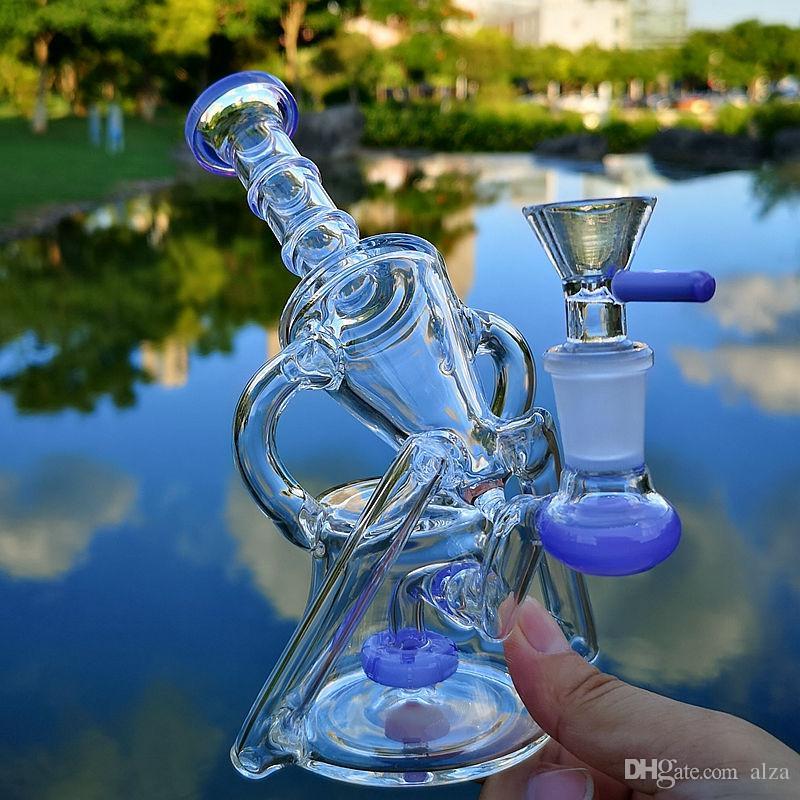 Recycler Bong Yağ Dab Kuleleri 14mm Ortak Camlı Bowl Wax Nargile Herb Sigara tütünü 7inch Showerhead Perc Sidecar Cam Bongs Su Boruları