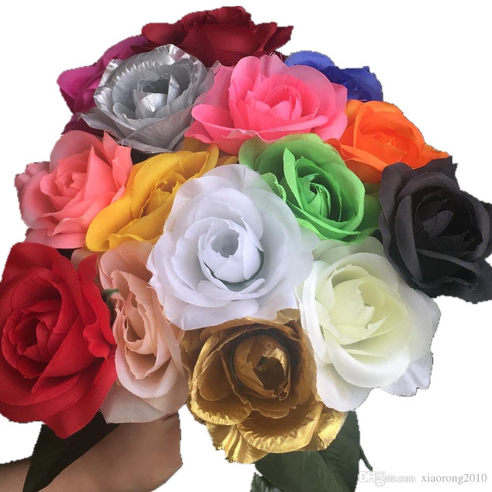 80pcs Bourgogne Rose Or Couleur Fleur 30cm Roses 20 couleurs pour Event Party De Mariage Centres de Table Bouquet De Mariée Artificielle Fleur Décorative