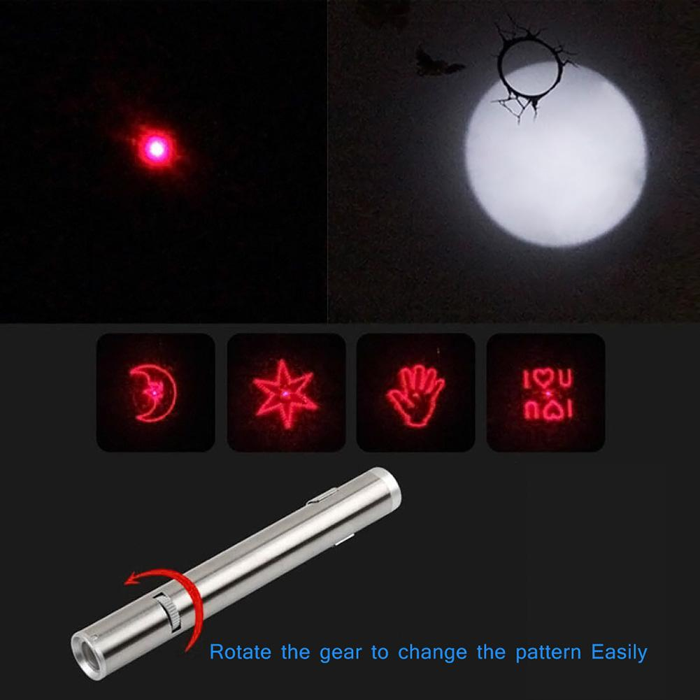 Funny Cat Stick With Rope USB Rechargeable LED Red Light Pointer Pen Children Play Pet Kitten Toy
