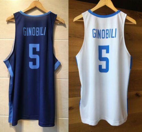 Manu Ginobili # 5 Argentinien National Basketball-Trikots-Top-gedrückter Druckkundenzeichen Number Nr. 4XL 5XL 6XL-Jersey