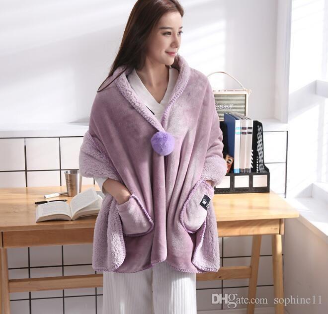 Wearable Fleece Blanket Soft Multi-functional Colorful Shawl Warm Women Wearable Blanket with Pocket Creative Christmas Gift