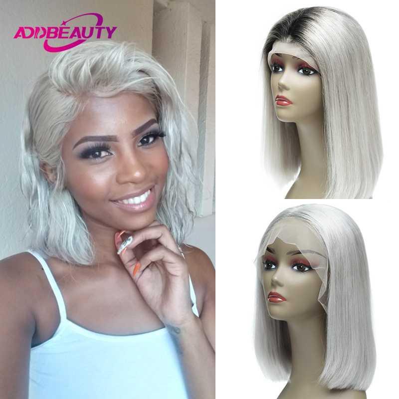 Argent Blanc Ombre 1B Gris 13x6 Cheveux courts avant de dentelle Bob perruques pour les femmes noires de couleur coloré Moyen Partie droite Remy