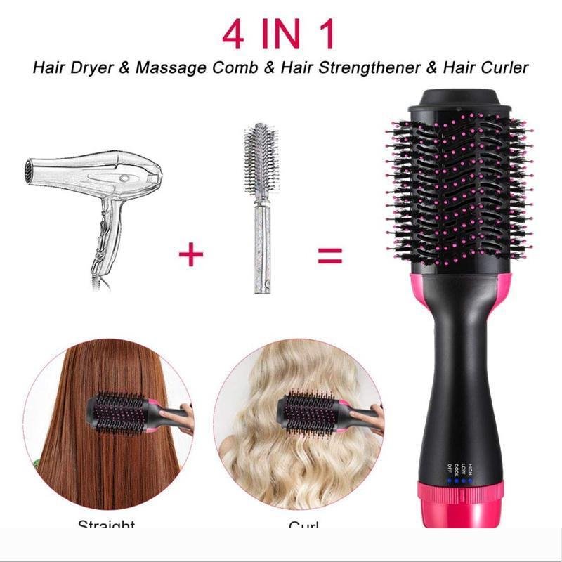 Professional Hair Dryer Brush Volumizer Blow straightener and curler salon 2 in 1 Electric Hot Air Curling Iron comb