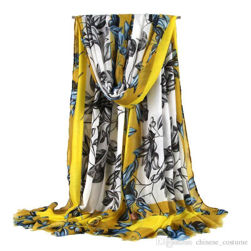 A mais recente primavera, verão, outono e inverno cachecóis das mulheres da moda das mulheres longo lenço deixa impressa véu cachecol senhoras xale xale macio