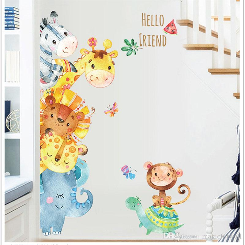 Watercolor Painting Cartoon Animals Wall Stickers Kids Room Nursery Decor Wall Mural Poster Art Elephant Monkey Horse Wall Decal