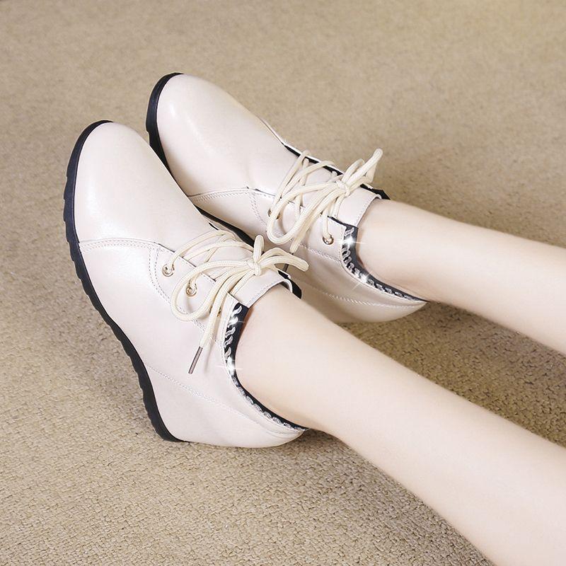Primavera Mulheres Autumn nua Botas Lace Up Casual Shoes aumento da altura do tornozelo Botas Mulher Wedges Shoes botas fêmeas mujer 7964C