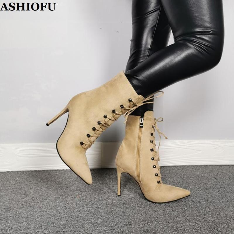 ASHIOFU Nueva Real Fotos señoras de tacón alto botas de cordones de los zapatos del partido Cruz Prom tobillo botines en punta de los pies de gran tamaño Botas de moda