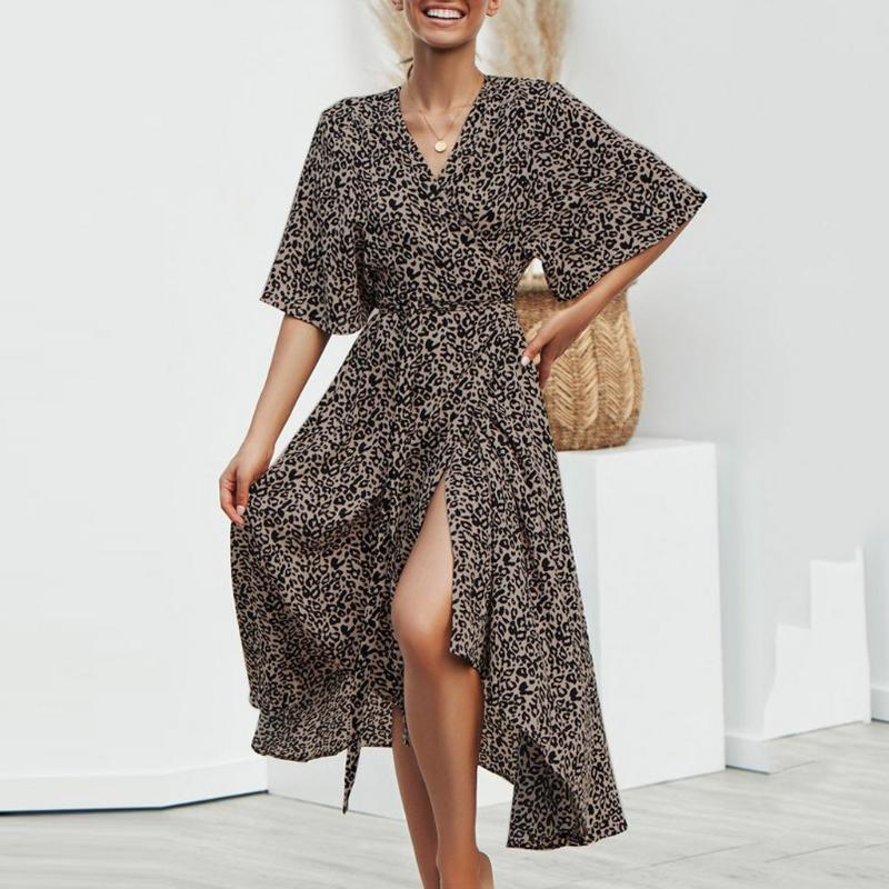 HAWCOAR Leopard Print Dress sexy su per le donne del manicotto mezzo allentato Summer Dress collo a V Robes Casual Pour Femme vestido para mujer
