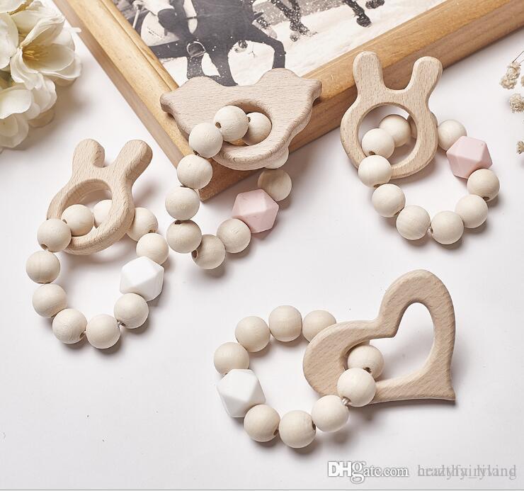 4 Bebê Enfermagem Pulseiras De Madeira Teether Silicone Beads Teething Wood Chattles Brinquedos Bebê Cartoon Animal Teether Braceletes Enfermagem Brinquedos Presente 3