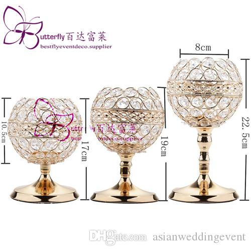 3Pcs Crystal Candle Holders Wedding Centerpieces Candlesticks Set for Birthday Party Dining Table Decorative Gifts