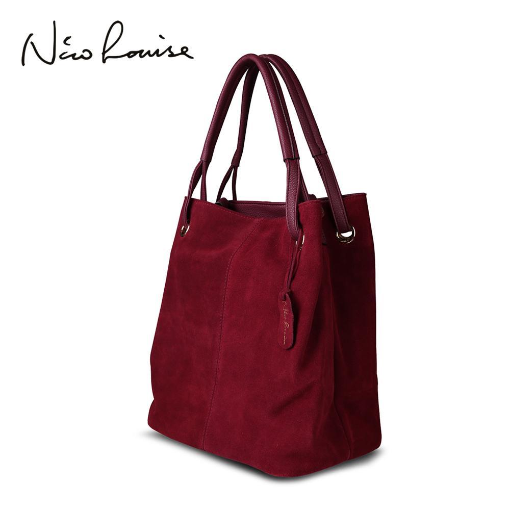 Женская сумка из натуральной замши Nico Louise из натуральной кожи, новые досуговые большие сумки с верхней ручкой Lady Повседневная сумка через плечоMX190824