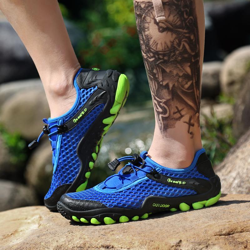 Yaz Nefes Erkekler Yürüyüş Ayakkabı Süet Mesh Açık Erkekler Sneakers Kadınlar Yürüyüş Ayakkabı Spor Hızlı kuruyan Su