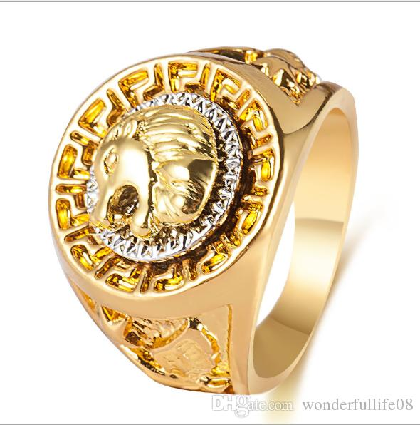 Hip hop Men's Rings Jewelry Free Masonic 24k gold Lion Medallion Head Finger Ring for men women HQ