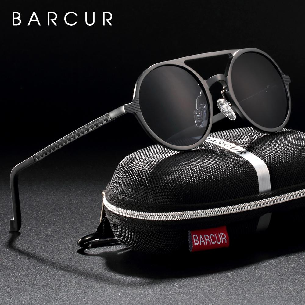Marken-Designer-Steampunk-Gläser Female Retro Aluminium Magnesium-Sonnenbrille-Männer runde Sonnenbrille polarisiert oculos de sol T191230