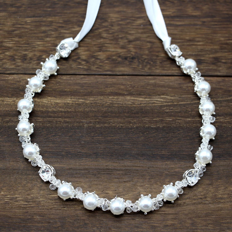 Sposa Copricapo cristallo della perla torsionale Bead morbida catena dei capelli fascia degli accessori Headwear ragazza damigella sera del partito
