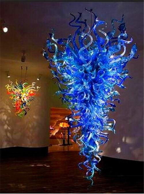 Pretty Blue CE/UL Certificate lamp Blown Murano Glass Art Deco Crystal LED Chandelier for Livingroom Decoration