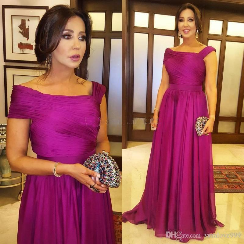 Elegant Fuchsia Mother Of The Bride Dresses Draped Floor Length Plus Size Prom Party Gowns Mother Wedding Guest Gowns 2019