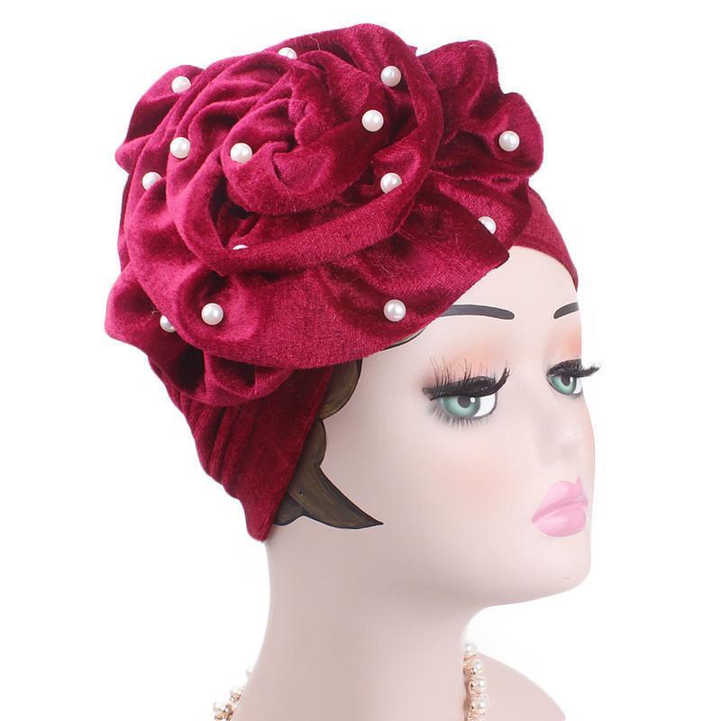 Moda perlas con cuentas flor de terciopelo mujeres Bonnet partido musulmán Hijab Headwear accesorios para el cabello 2019