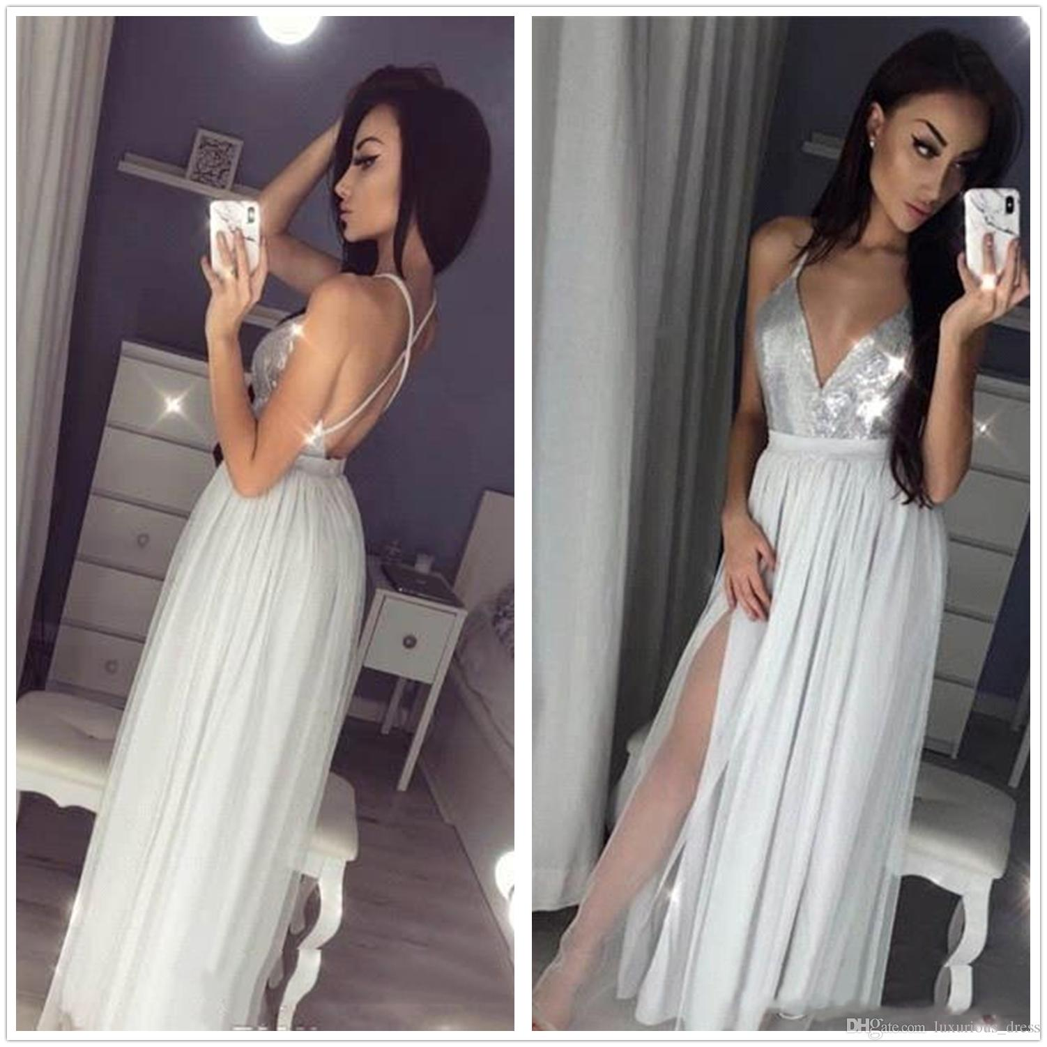 Sexy Silver Gray Long Evening Dresses 2019 A Line Spaghetti Strap Celebrity Holiday Women Wear Formal Party Prom Gowns Custom Made Plus Size