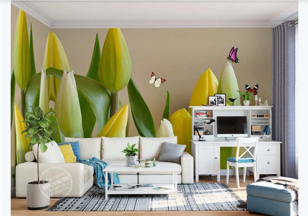papillon HD image personnalisée Fleurs Pour fond TV Salon Chambre murale Papier peint Murs 3 D