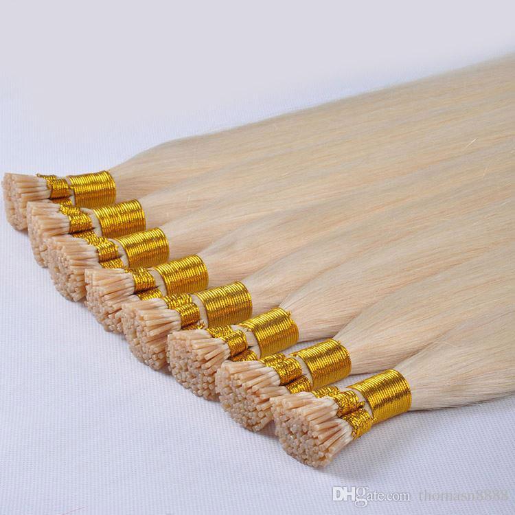 14-26 بوصة شقراء مستقيم أنا تلميح الشعر الإنسان الشعر 1G لكل فروع 100G سميكة قبل الشعر المستعبدين