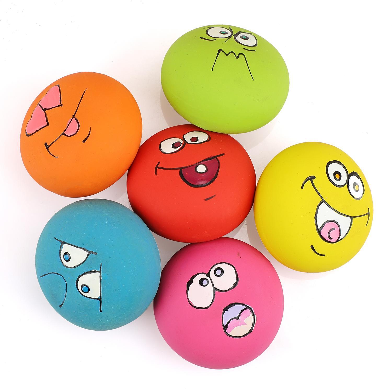نوب-الحب جرو الكلب لعب الأسنان Squeaker الكرة جرو صار صوت الوجه الجلب تلعب لعبة 6 قطع / مجموعة
