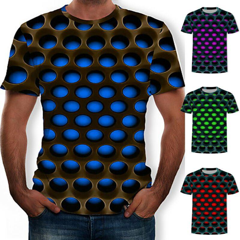 ytqty Short Sleeve Headphone Man Cartoon Pattern Print Fashion Casual Round Neck T-Shirt