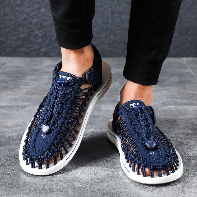 De nouvelles sandales homme chaussures de plage tricotés à la main d'été en cuir souple spartiates romaines respirant grande taille 38-47