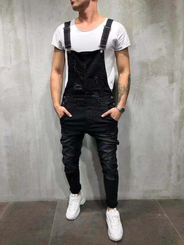 Pantalones Jean Hombre 2019 Salopette Homme Couleur Unicolore Détruit Jeans Trou Slim Fit Denim Jumpsuit Hommes Jeans Déchiré
