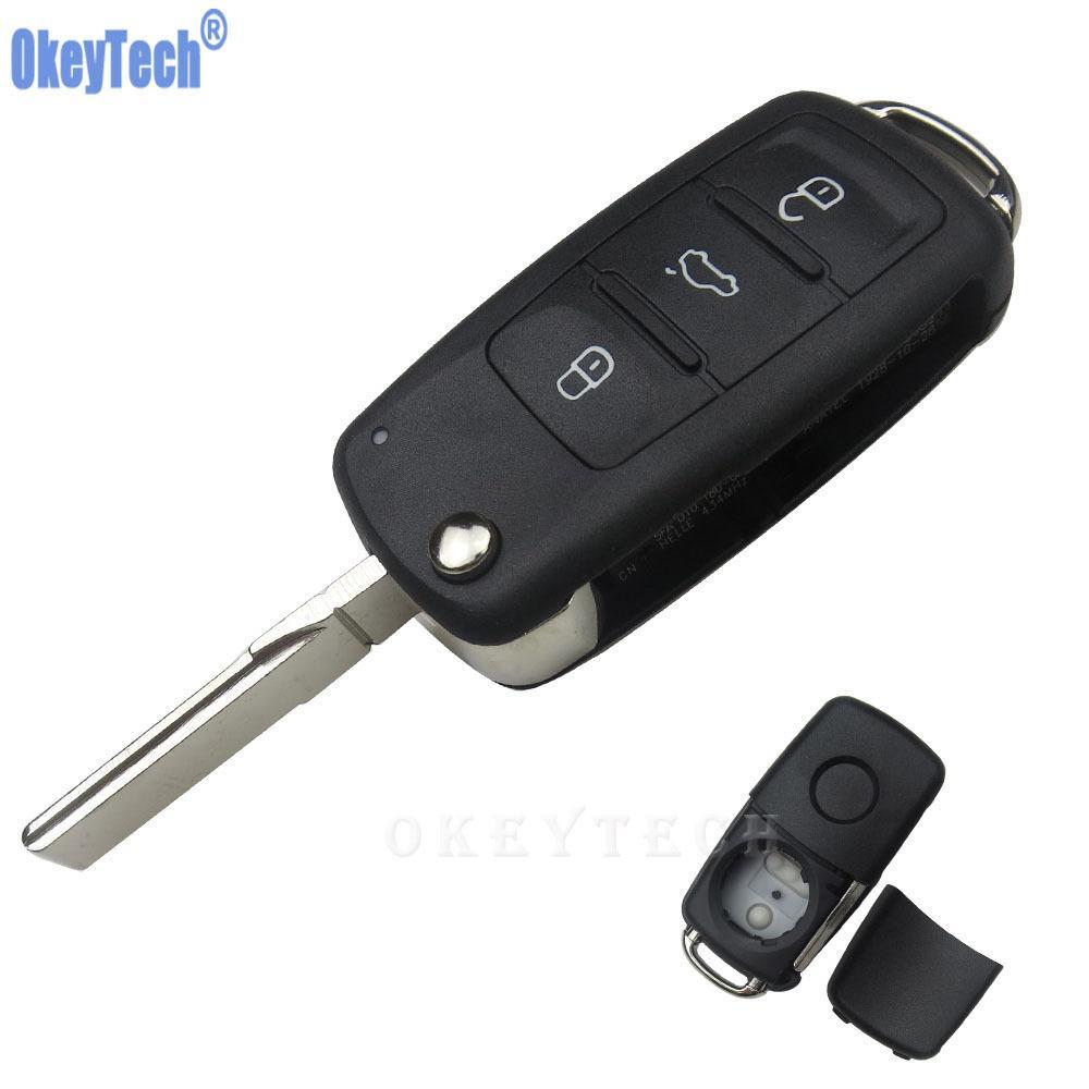 3 Buttons Flip Remote Car Key Case Shell For Volkswagen Vw Jetta Golf Passat Beetle Polo Bora Uncut Blade Blank Key Fob