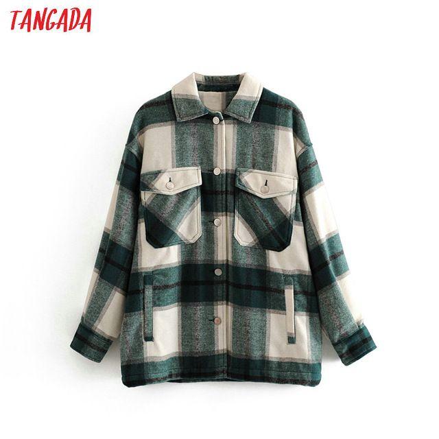 Женская одежда Tangada 2020 Зимняя Женщины зеленый плед Длинные куртки пальто Повседневный Теплый высокого качества Шинель Мода Длинные пальто 3H04
