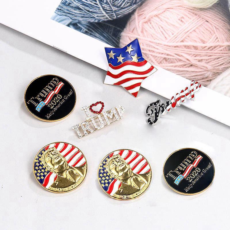 Donald Trump Gedenkabzeichen 2020 US-Präsidentschaftswahl Diamant-Pin-Sammlung Kristall Brosche Gedenkmünzen DDA61