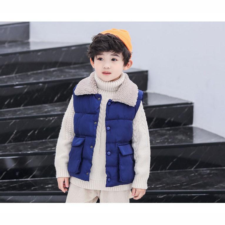 Chaleco de diseño para niños Chaleco de lujo para niños Chaleco de plumón Chaquetas para niñas de color sólido Ropa casual para niños con bolsillos de alta calidad