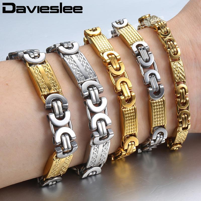 Königsketten Armbänder für Männer Gold Silber-Schwarz-Edelstahl Herren Armband Davieslee Großhandel Schmuck NEW 6 8 11mm KBB5
