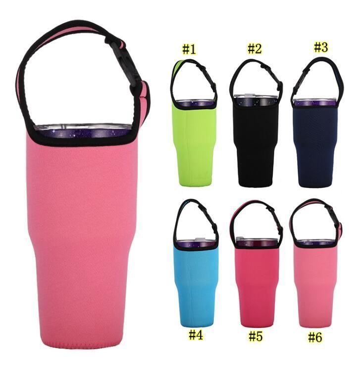 النيوبرين محمول تغطية كأس الصلبة اللون، زجاجة 30OZ أكواب ماء كم الناقل السفر القدح حامل حقيبة الحقيبة أدفأ الغلاف الحراري