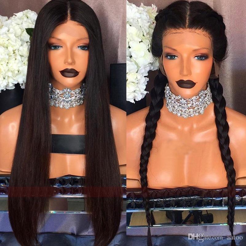 Lace Capelli anteriore dei capelli umani parrucche Pre pizzico brasiliana del merletto di Remy Capelli lisci merletto della parte anteriore di colore naturale