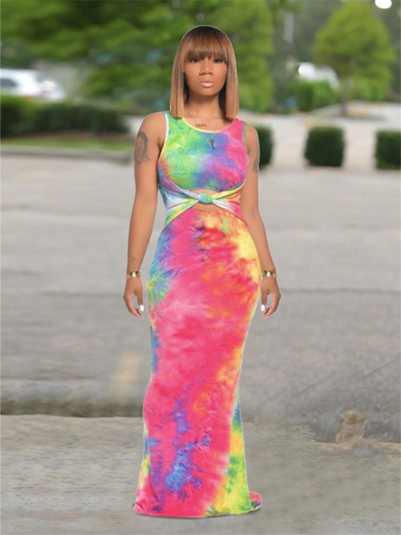Kadınlar Tasarımcı Uzun Elbiseler Moda Batik Kontrast Renk kolsuz elbiseler Bandaj Mürettebat Boyun İnce Bayan Giyim