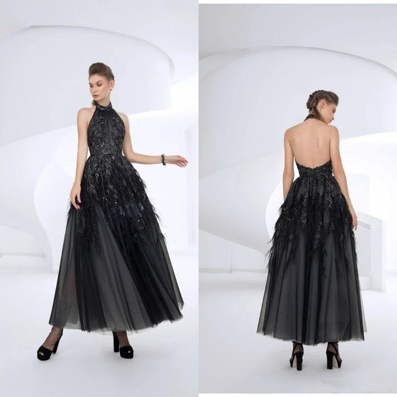 Elie Saab Schwarz-Abend-Kleider Halter A Linie Appliques Knöchellangen Cocktailkleid 2020 eine Linie Feder-formale Abschlussball-Kleider Roben De Soirée