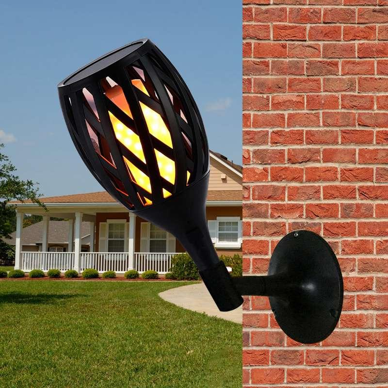 Edison2011 Retro Streetlight Waterproof Flame Flickering Landscape Garden Lamp Torch Light Solar/USB Recharging LED Solar Lamp Outdoor
