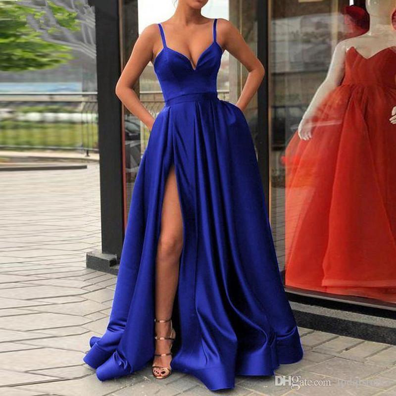 Sexy Royal Blue Prom Dress High Waist Side Split Zipper Back Taffeta Evening Dresses Accept Custom Made