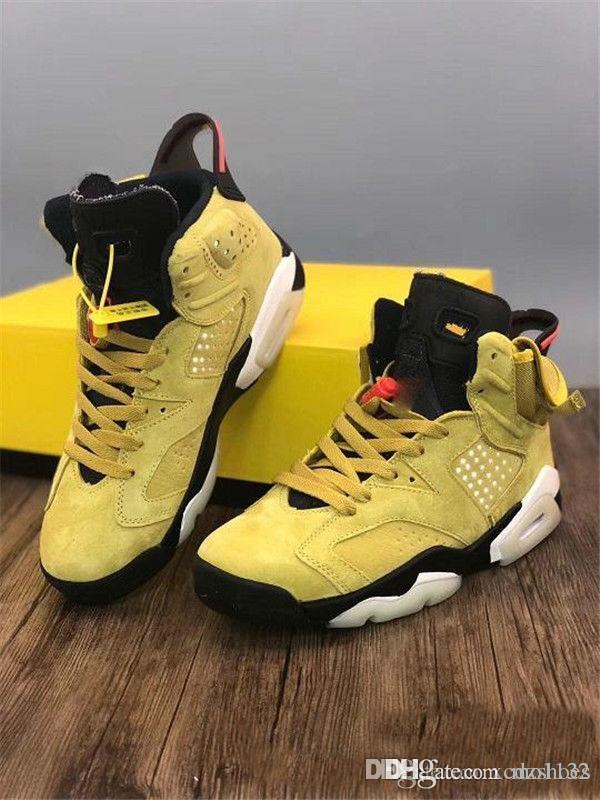 Новый релиз Тревис х Хьюстон высокое качество Трэвис Скотт х 6 мужская баскетбольная обувь желтый кактус Джек Sneaker тренеров всячески препятствовать