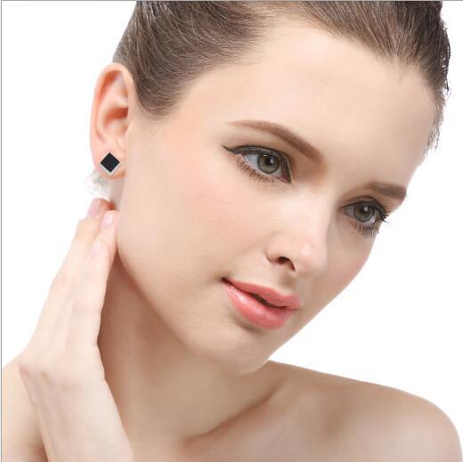 personalidad de la moda al por mayor populares de circonio negro diamante 925 pendientes de plata earrings330